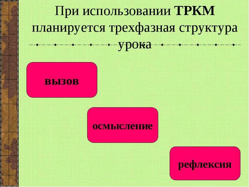 При использовании ТРКМ планируется трехфазная структура урока вызов осмыслени...