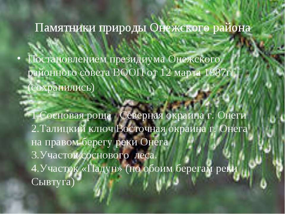 Памятники природы Онежского района Постановлением президиума Онежского районн...