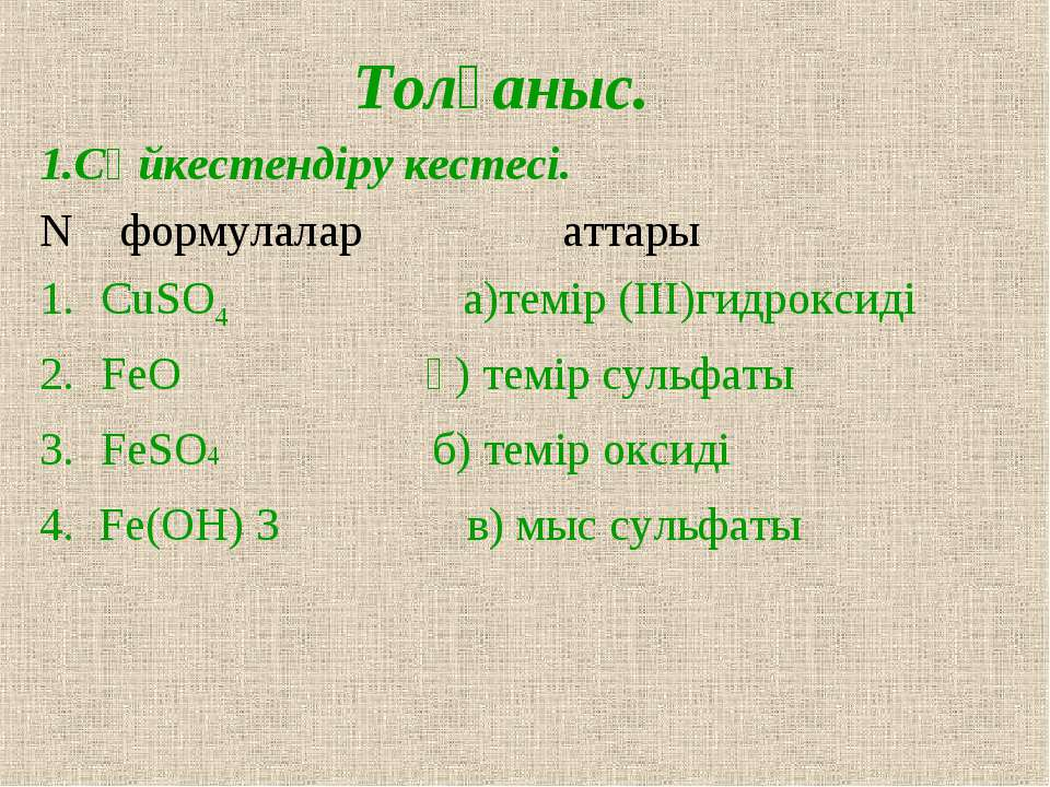 Толғаныс. 1.Сәйкестендіру кестесі. N формулалар аттары CuSO4 а)темір (III)гид...