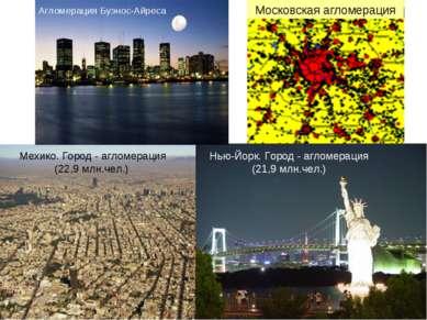 Московская агломерация Мехико. Город - агломерация (22,9 млн.чел.) Нью-Йорк. ...