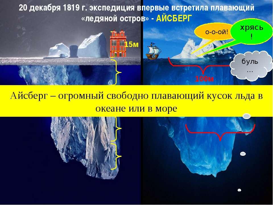 20 декабря 1819 г. экспедиция впервые встретила плавающий «ледяной остров» - ...