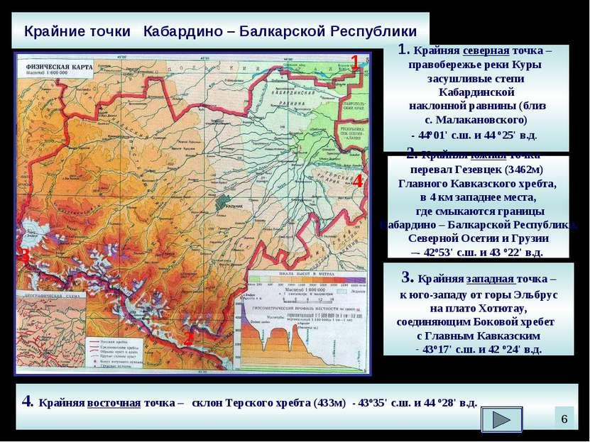 Крайние точки Кабардино – Балкарской Республики 1. Крайняя северная точка – п...