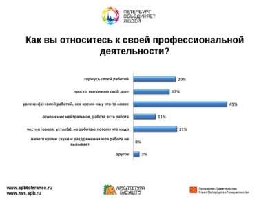 Как вы относитесь к своей профессиональной деятельности? www.spbtolerance.ru ...