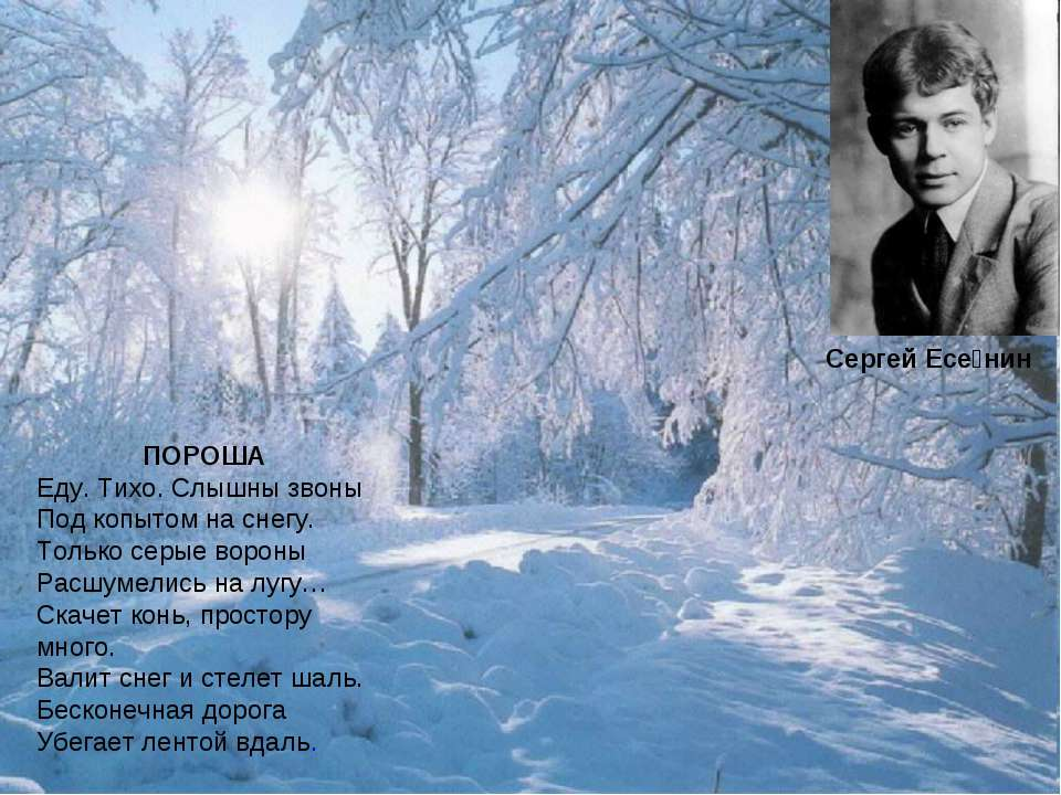 ПОРОША Еду. Тихо. Слышны звоны Под копытом на снегу. Только серые вороны Расш...