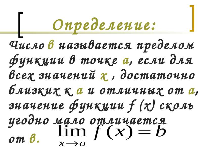 Определение: Число в называется пределом функции в точке а, если для всех зна...