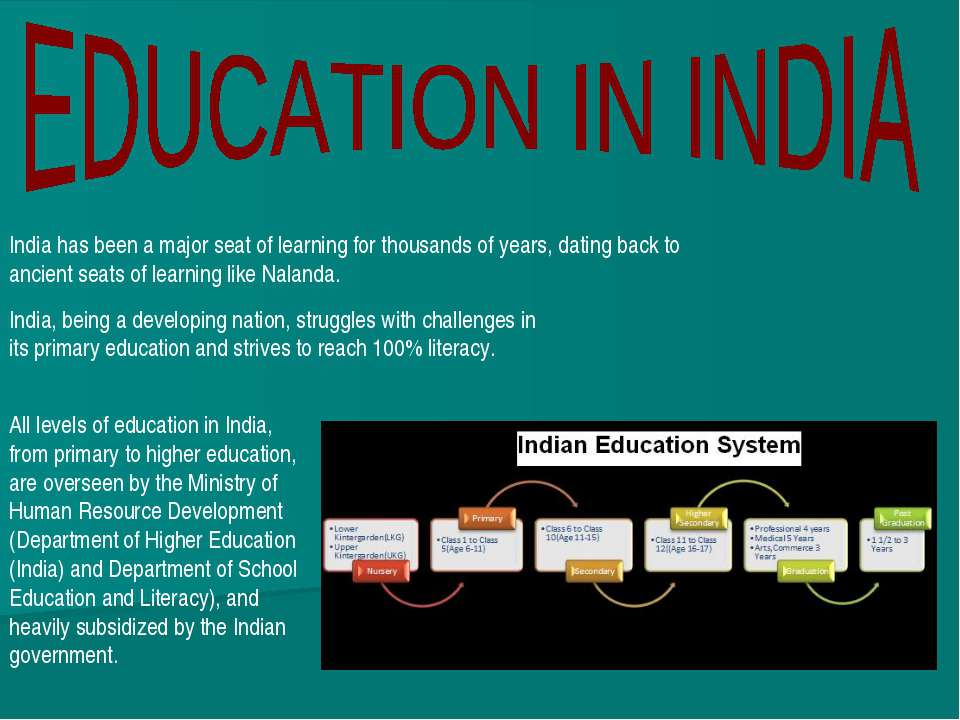India has been a major seat of learning for thousands of years, dating back t...