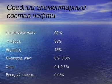 Средний элементарный состав нефти