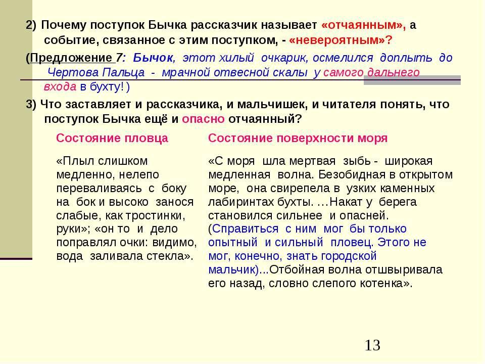 2) Почему поступок Бычка рассказчик называет «отчаянным», а событие, связанно...