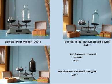 вес баночки с сырой почвой 260 г вес баночки с почвой и водой 480 г вес баноч...