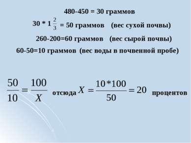 отсюда процентов 30 * 1 = 50 граммов 480-450 = 30 граммов 260-200=60 граммов ...