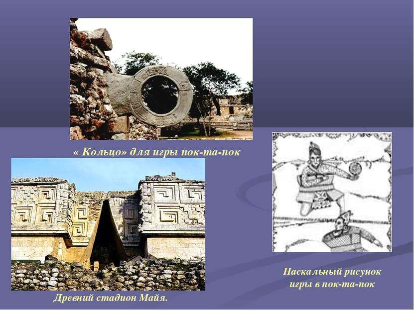 « Кольцо» для игры пок-та-пок Древний стадион Майя. Наскальный рисунок игры в...