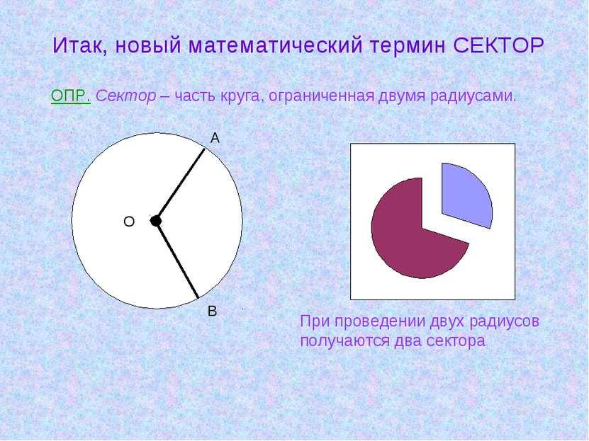 Итак, новый математический термин СЕКТОР ОПР. Сектор – часть круга, ограничен...
