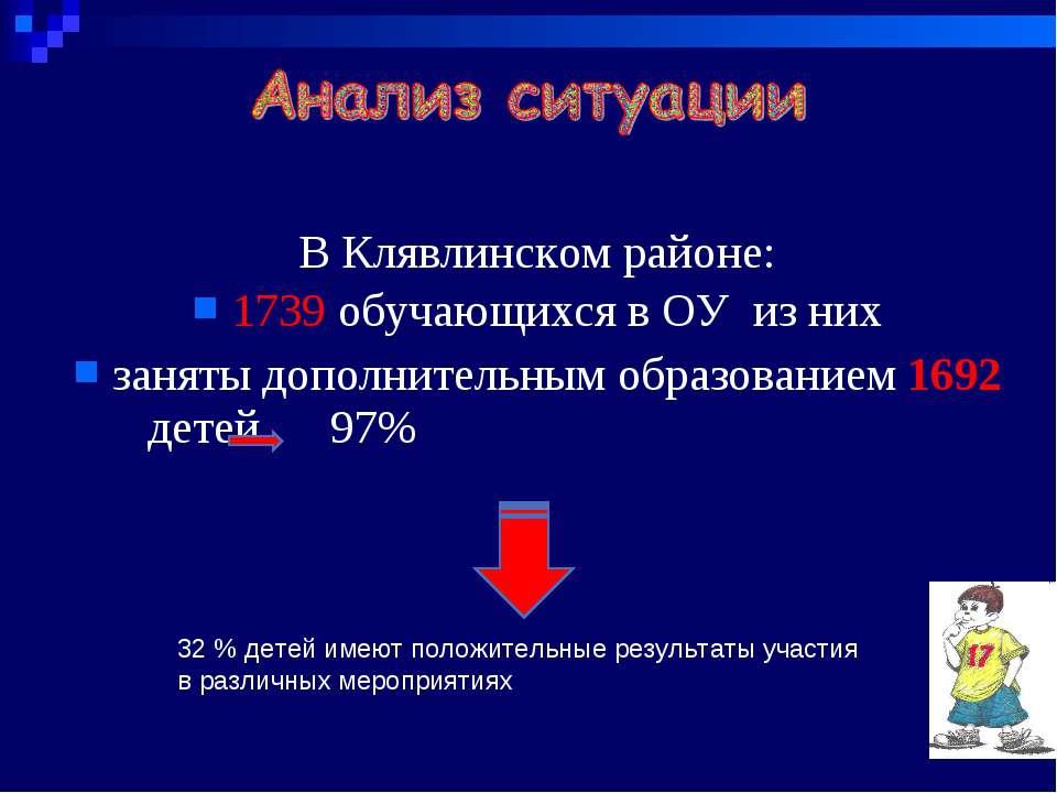В Клявлинском районе: 1739 обучающихся в ОУ из них заняты дополнительным обра...
