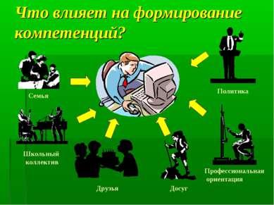 Что влияет на формирование компетенций? Семья Школьный коллектив Друзья Досуг...