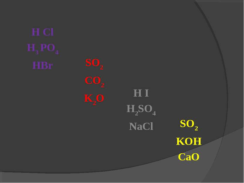 H Cl H3 PO4 HBr SO2 CO2 K2O H I H2SO4 NaCl SO2 KOH CaO
