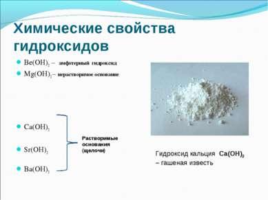 Химические свойства гидроксидов Ве(ОН)2 – амфотерный гидроксид Mg(OH)2 – нера...