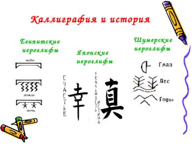 Каллиграфия и история Японские иероглифы Шумерские иероглифы Египитские иерог...