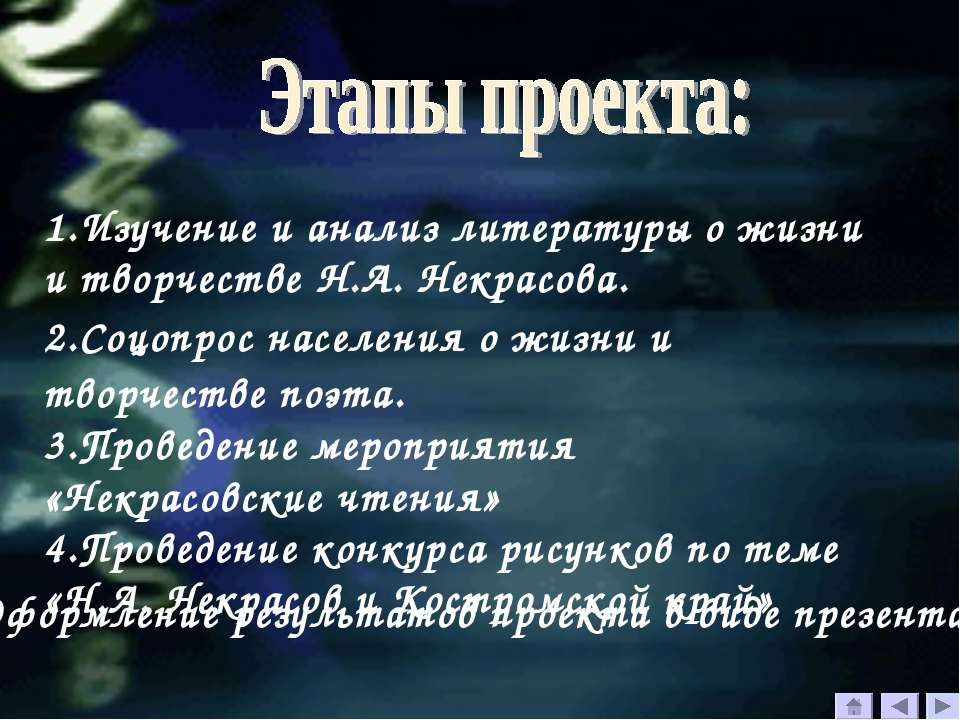 1.Изучение и анализ литературы о жизни и творчестве Н.А. Некрасова. 2.Соцопро...