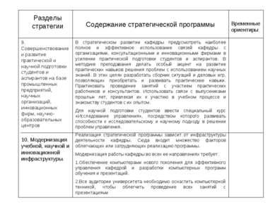 Разделы стратегии Содержание стратегической программы Временные ориентиры 9. ...