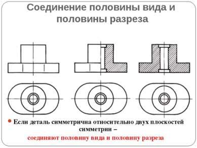 Соединение половины вида и половины разреза Если деталь симметрична относител...