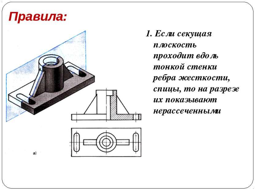 Правила: 1. Если секущая плоскость проходит вдоль тонкой стенки ребра жесткос...