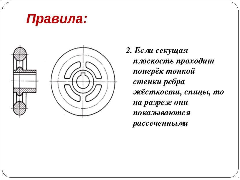 Правила: 2. Если секущая плоскость проходит поперёк тонкой стенки ребра жёстк...