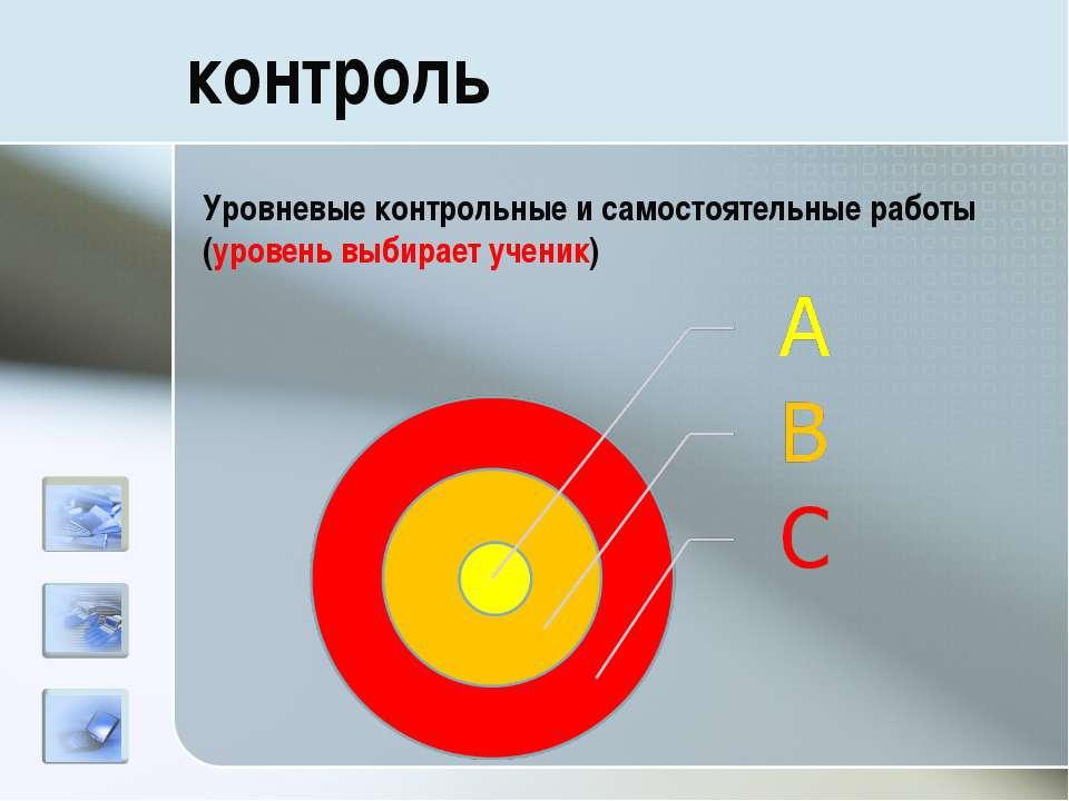 контроль Уровневые контрольные и самостоятельные работы (уровень выбирает уче...