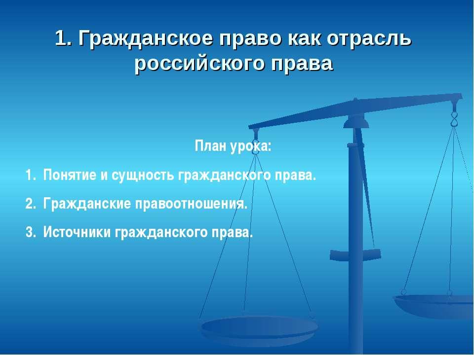 1. Гражданское право как отрасль российского права План урока: Понятие и сущн...