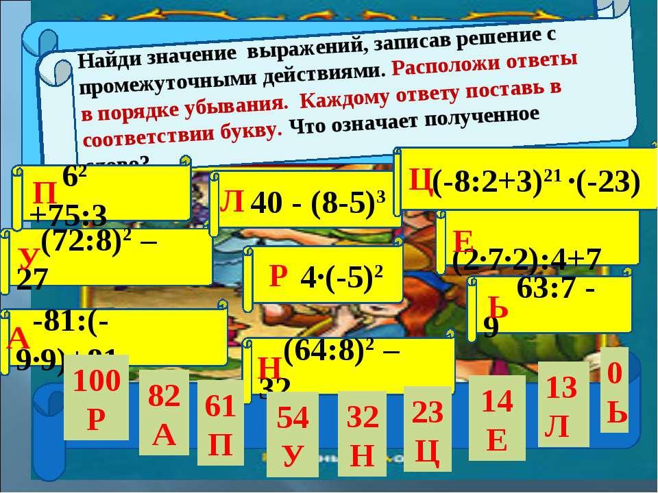 (72:8)2 – 27 -81:(-9∙9)+81 4∙(-5)2 (64:8)2 – 32 (2∙7∙2):4+7 63:7 - 9 У А Р Н ...