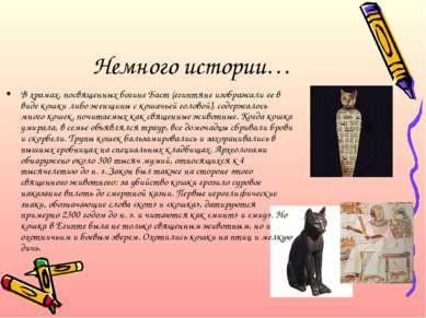 Немного истории… В храмах, посвященных богине Баст (египтяне изображали ее в ...