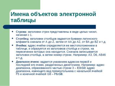 Имена объектов электронной таблицы Строка: заголовки строк представлены в вид...