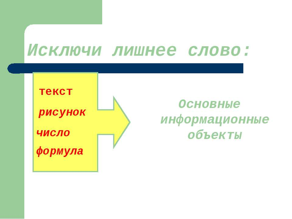Исключи лишнее слово: Основные информационные объекты текст рисунок число фор...