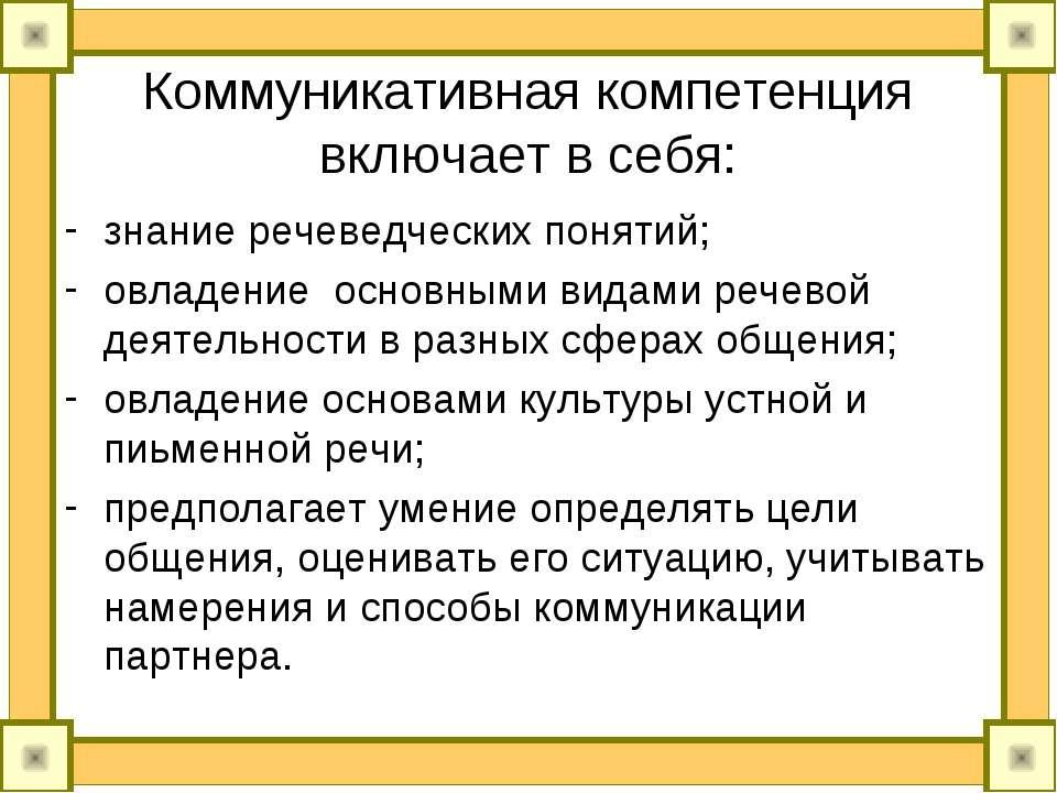 Коммуникативная компетенция включает в себя: знание речеведческих понятий; ов...