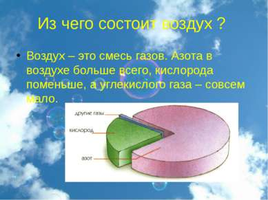 Из чего состоит воздух ? Воздух – это смесь газов. Азота в воздухе больше все...