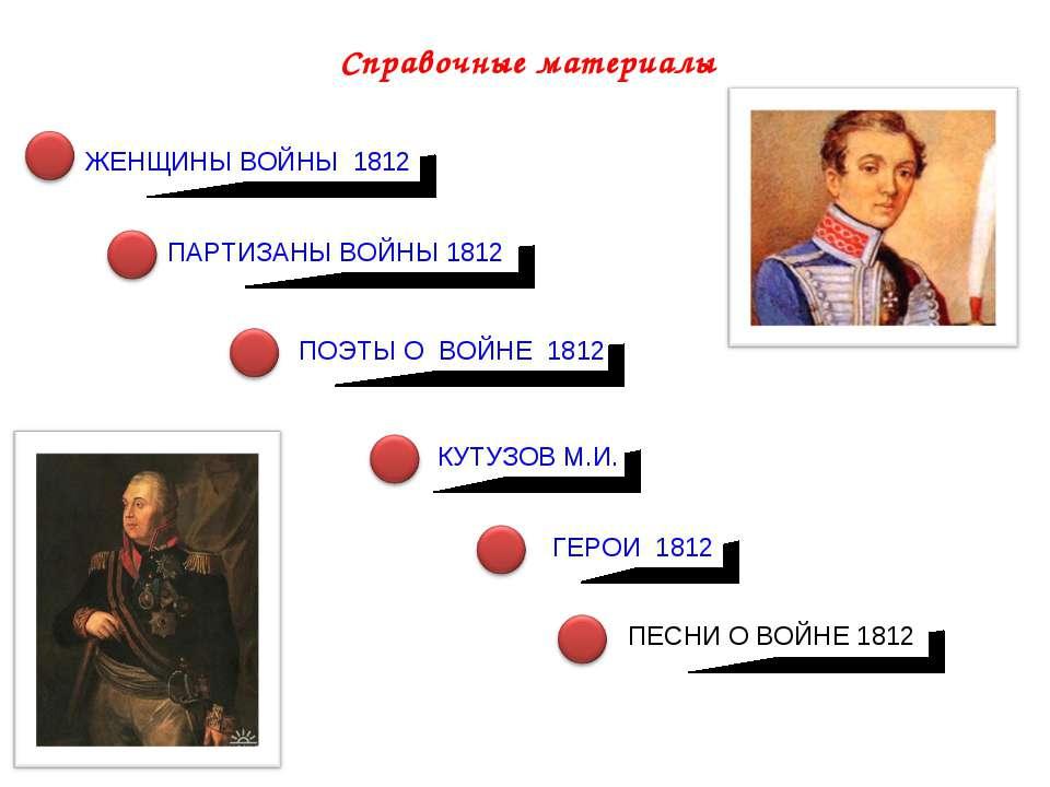 Справочные материалы ЖЕНЩИНЫ ВОЙНЫ 1812 КУТУЗОВ М.И. ПОЭТЫ О ВОЙНЕ 1812 ГЕРОИ...