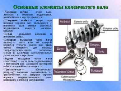 Основные элементы коленчатого вала Коренная шейка— опора вала, лежащая в кор...