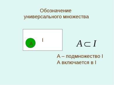Обозначение универсального множества I А А – подмножество I А включается в I