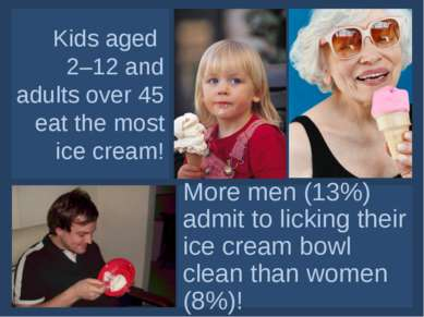 Kids aged 2–12 and adults over 45 eat the most ice cream! More men (13%) admi...