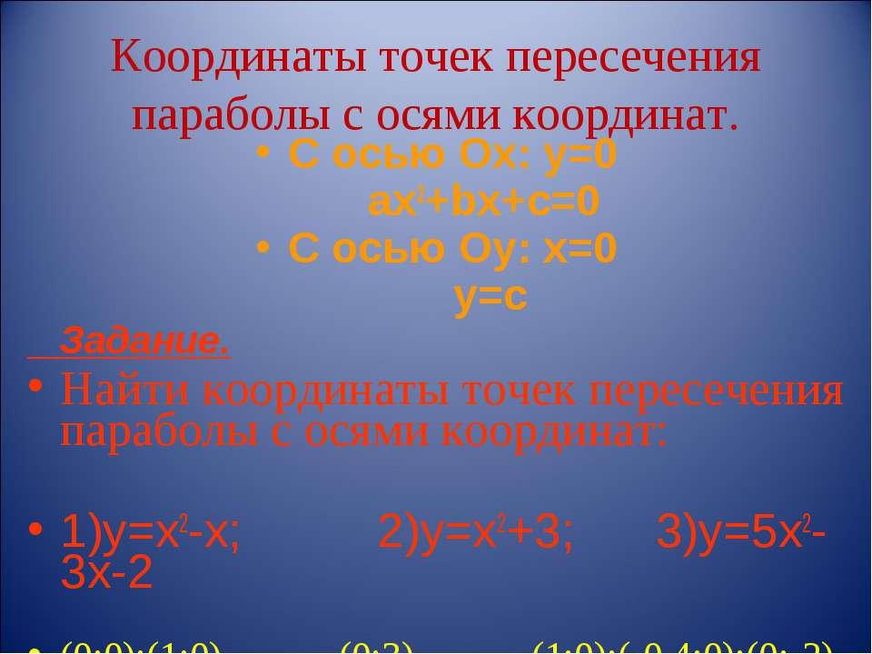 Координаты точек пересечения параболы с осями координат. С осью Ох: у=0 ах2+b...