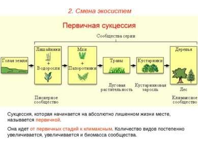 2. Смена экосистем Сукцессия, которая начинается на абсолютно лишенном жизни ...