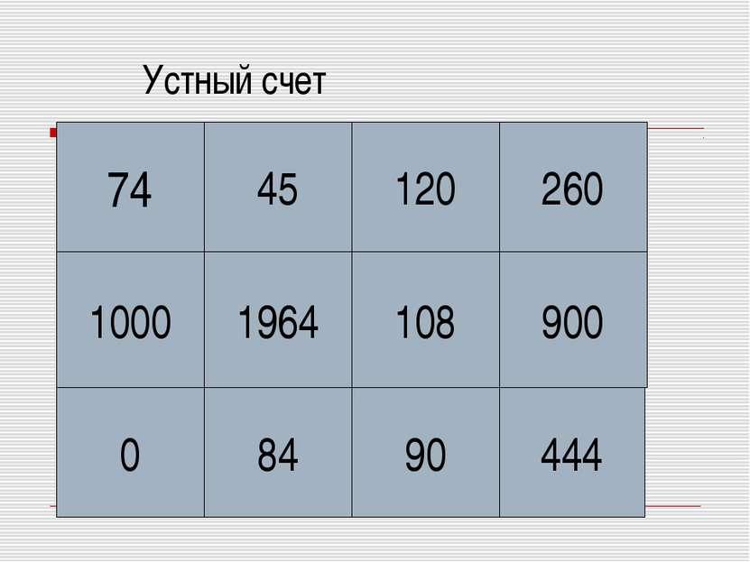 Устный счет 74 45 1964 0 84 90 444 900 108 260 120 1000