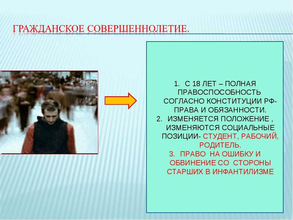 С 18 ЛЕТ – ПОЛНАЯ ПРАВОСПОСОБНОСТЬ СОГЛАСНО КОНСТИТУЦИИ РФ- ПРАВА И ОБЯЗАННОС...