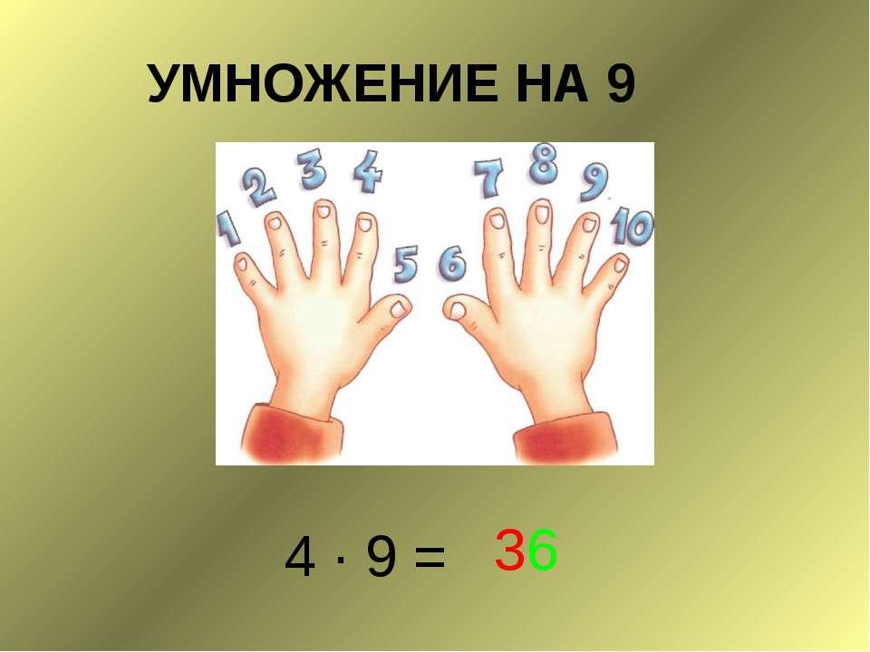 УМНОЖЕНИЕ НА 9 4 ∙ 9 = 36