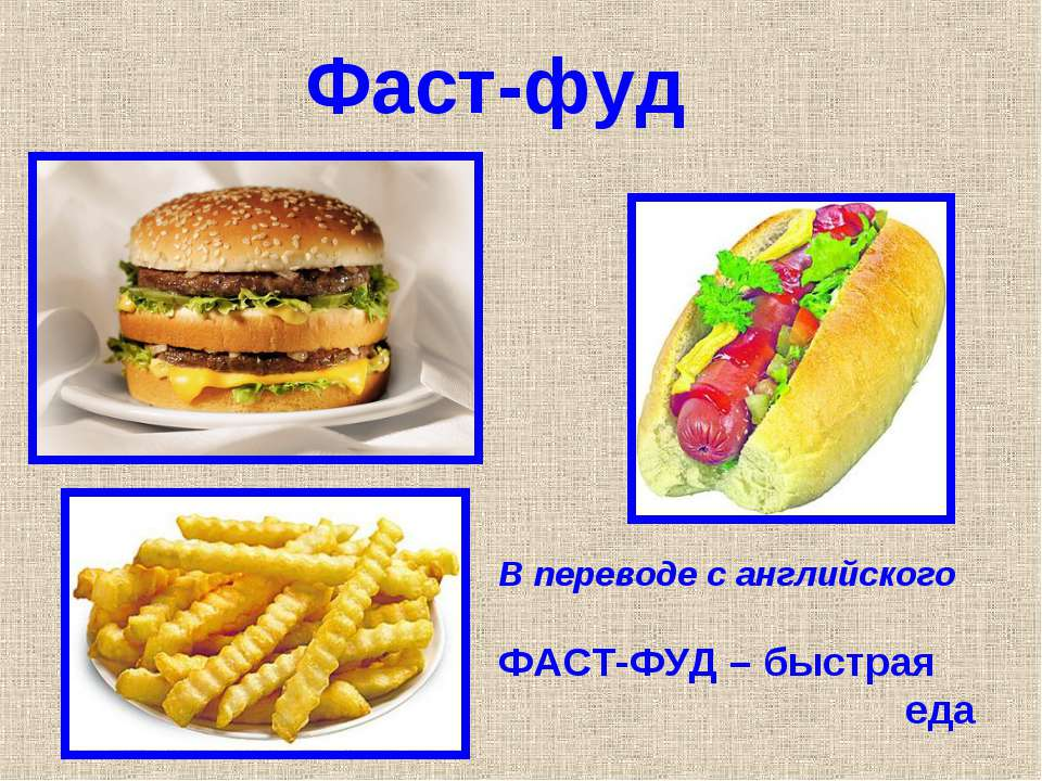 Фаст-фуд В переводе с английского ФАСТ-ФУД – быстрая еда
