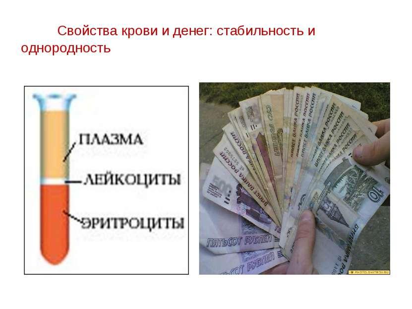 Свойства крови и денег: стабильность и однородность