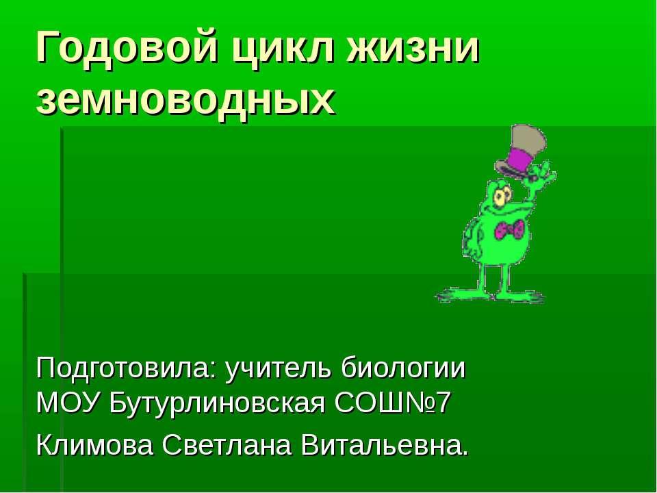 Годовой цикл жизни земноводных Подготовила: учитель биологии МОУ Бутурлиновск...