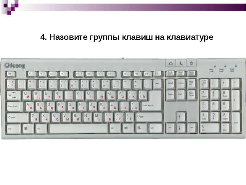 4. Назовите группы клавиш на клавиатуре