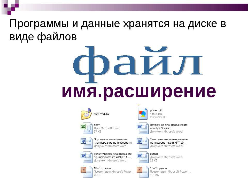 Программы и данные хранятся на диске в виде файлов имя.расширение
