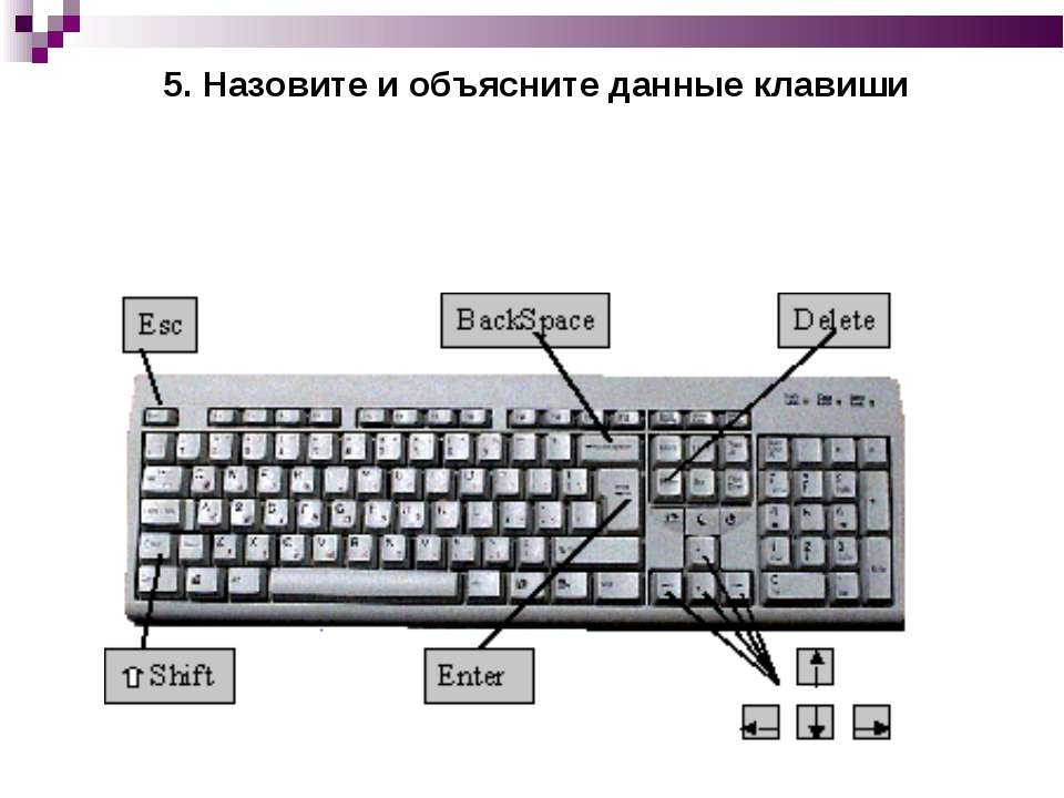 5. Назовите и объясните данные клавиши