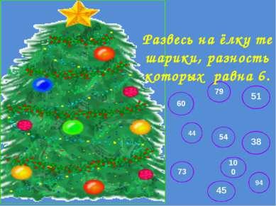 73 94 44 54 38 60 51 45 100 79 Развесь на ёлку те шарики, разность которых ра...